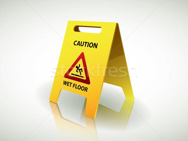ストックフォト: 注意 · ぬれた · 階 · にログイン · 色 · クリーン