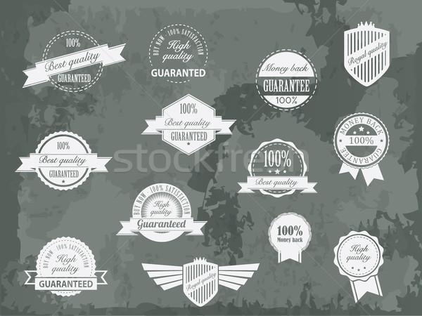 Rétro vintage prime qualité garantir étiquettes Photo stock © graphit