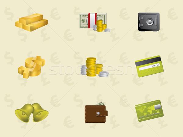 Or icônes affaires argent livre vert Photo stock © graphit