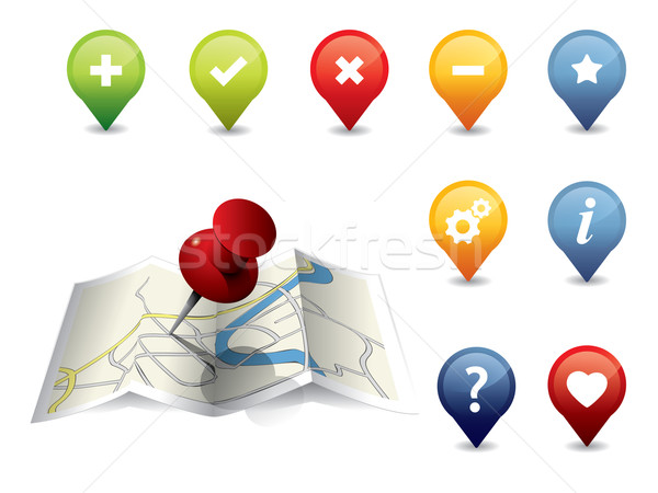 GPS Icon set Stock photo © graphit