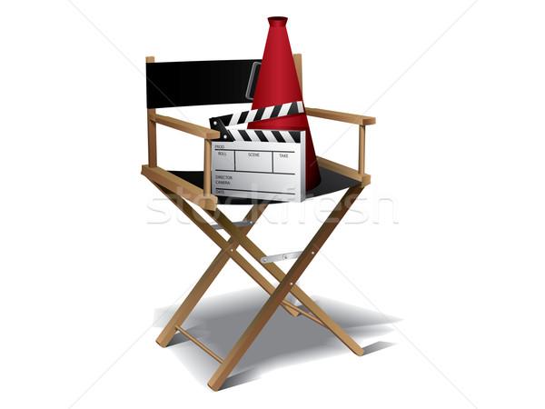 Foto stock: Filme · diretor · cadeira · estrela · cinema · bilhete