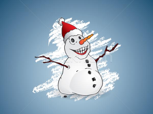 Heureux bonhomme de neige arbre nature lune hiver Photo stock © graphit