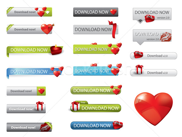 Stock photo: Valentine's day theme website download buttons