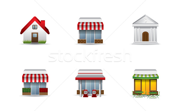Real estate icons Stock photo © graphit