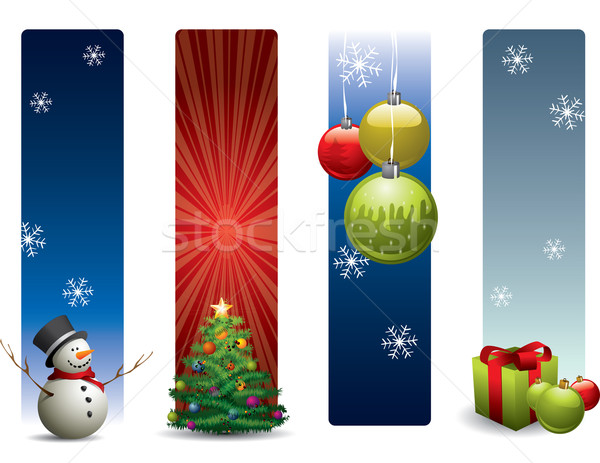 Stockfoto: Christmas · banners · glimlach · winter · speelgoed · retro