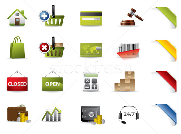 Shopping and auctions icons Stock photo © graphit