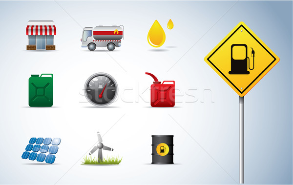 Gasoline, oil and energy icons Stock photo © graphit