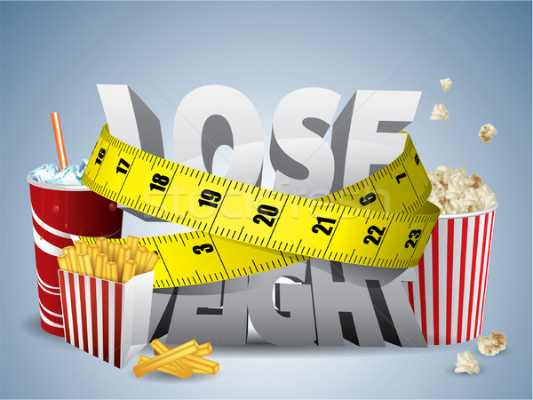 Lose weight text with measure tape and junk food Stock photo © graphit