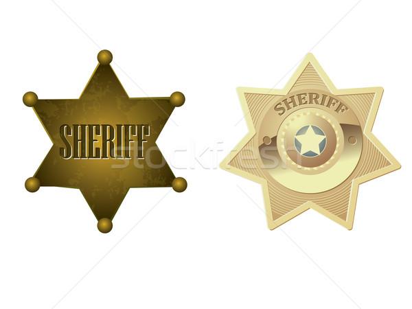 Dourado xerife distintivo metal justiça vintage Foto stock © graphit