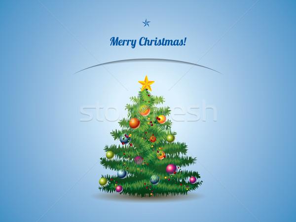 Noel ağacı kartpostal arka plan sanat yeşil top Stok fotoğraf © graphit