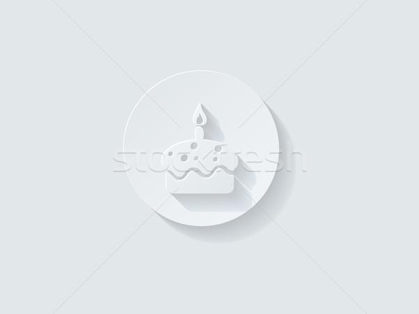 Torta di compleanno icona lungo ombra computer Foto d'archivio © graphit