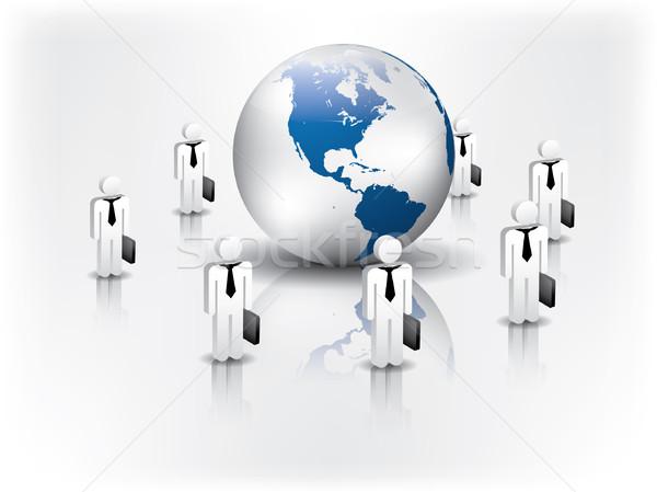 Бизнес-сеть вокруг мира женщину интернет ноутбука Сток-фото © graphit