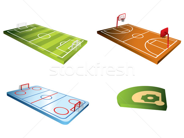 Sport fields 3d Stock photo © graphit