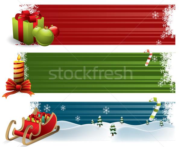Natal banners sorrir inverno brinquedo retro Foto stock © graphit