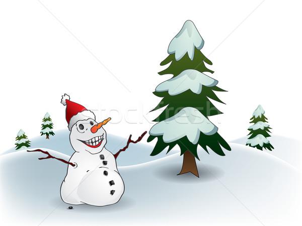 Postal feliz muñeco de nieve árbol naturaleza luna Foto stock © graphit
