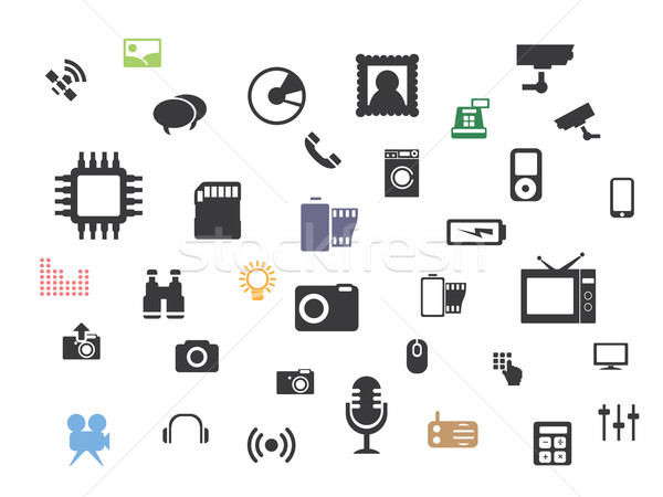 Web multimedia icons set Stock photo © graphit