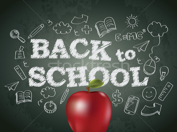 Back to school poster with text on chalkboard and apple Stock photo © graphit