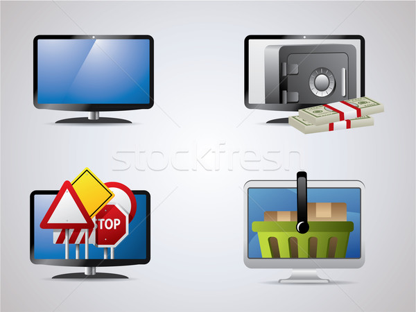 lcd icon set Stock photo © graphit