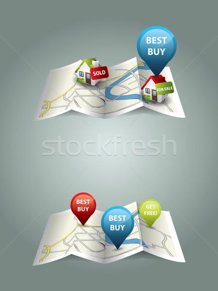 Immobiliari mappe home frame mercato piano Foto d'archivio © graphit