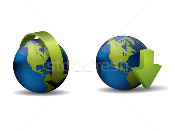 Icons with globe and arrows Stock photo © graphit