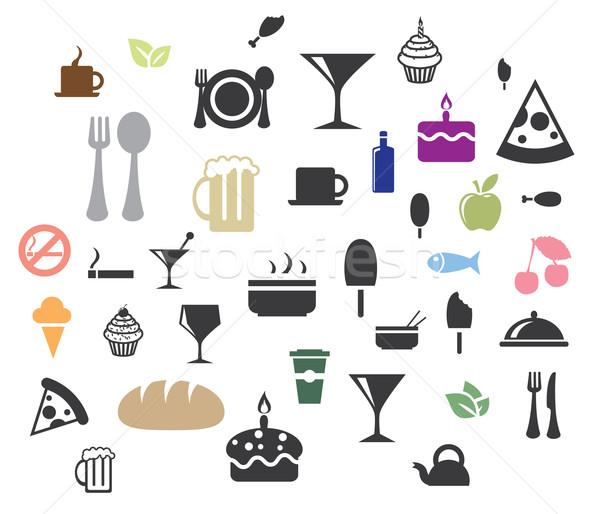 Vettore alimentare icone vino pesce vetro Foto d'archivio © graphit