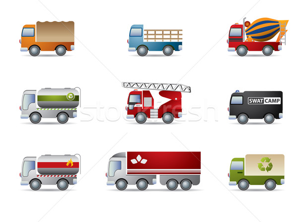Truck icon set on white Stock photo © graphit