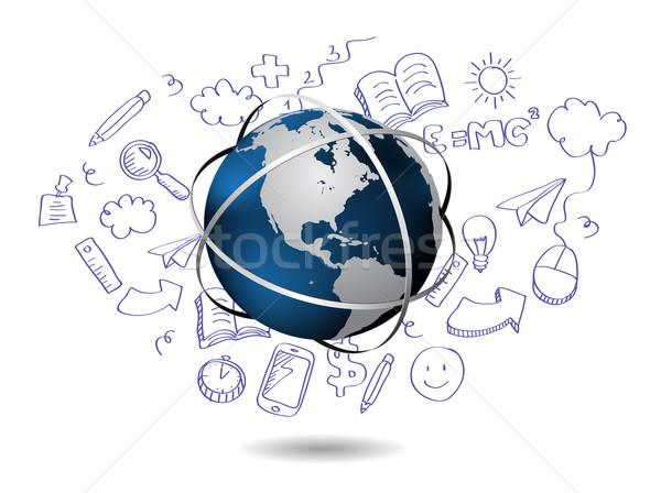 Doodle mondo soldi mondo istruzione finanziare Foto d'archivio © graphit