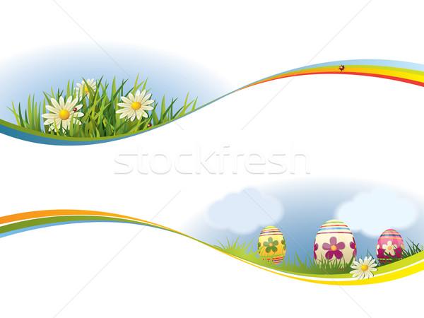 Bahar afiş gökyüzü ağaç manzara arka plan Stok fotoğraf © graphit