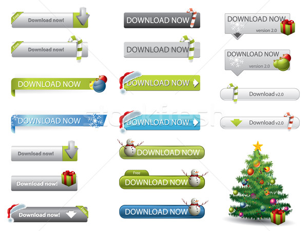 Christmas theme website download buttons Stock photo © graphit