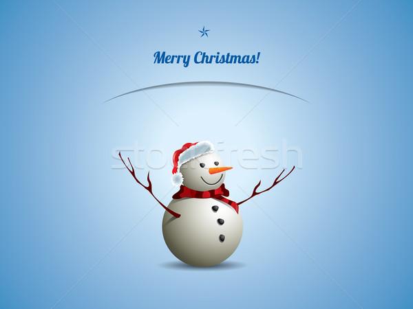 Navidad postal muñeco de nieve nieve cuadro invierno Foto stock © graphit