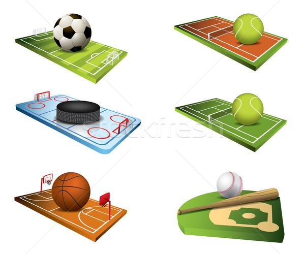 Vettore sport campi icone basket campo Foto d'archivio © graphit