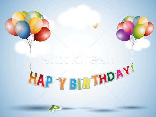 Happy birthday text with Colorful Balloons Stock photo © graphit