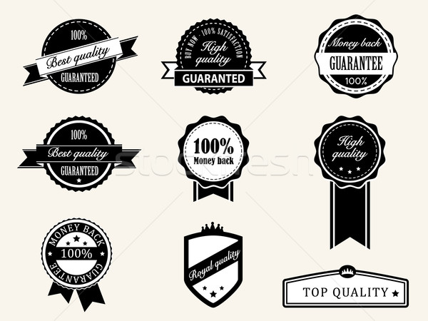 Premium Quality and Guarantee Badges with retro vintage style Stock photo © graphit