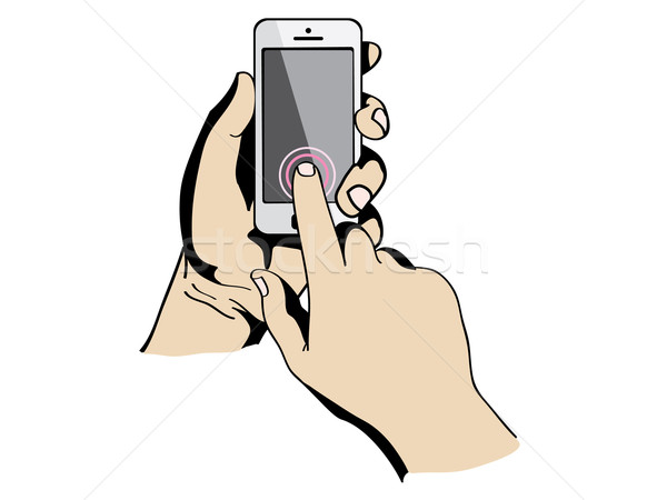 hands are holding and pointing on Smart Phone Stock photo © graphit