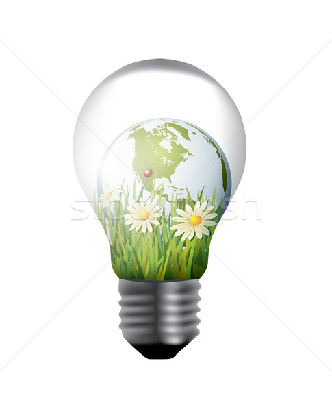 light bulb with green world inside Stock photo © graphit