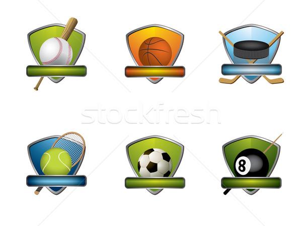 Spor rozetler simgeler toplama futbol basketbol Stok fotoğraf © graphit