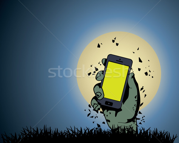 Zombie Hand holding the phone in Moonlight Stock photo © graphit