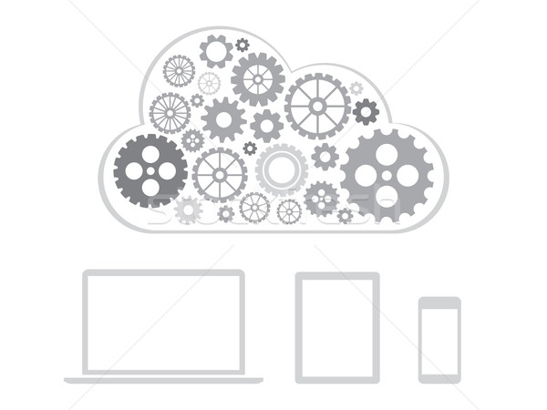 Cloud computing concept design - devices connected to cloud Stock photo © graphit