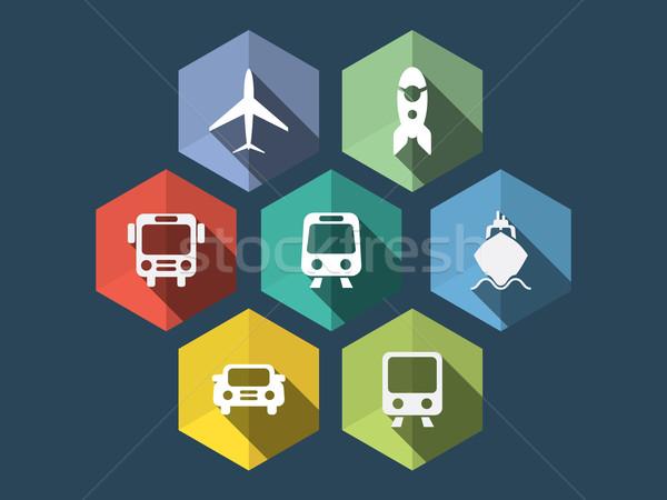 Diseno ecommerce iconos largo sombra negocios Foto stock © graphit