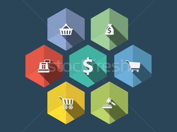 Design Symbole lange Schatten Business Stock foto © graphit