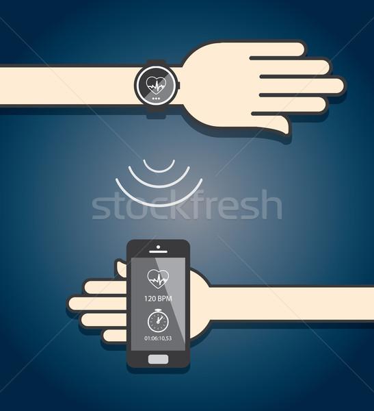 スマートフォン 通信 送信 フィットネス 情報 ワイヤレス ストックフォト © graphit