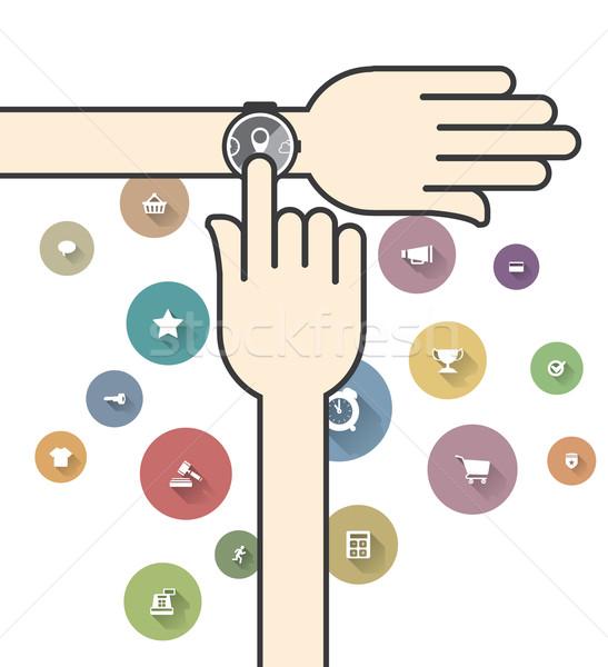 Renkli e-ticaret simgeler Internet saat dizayn Stok fotoğraf © graphit