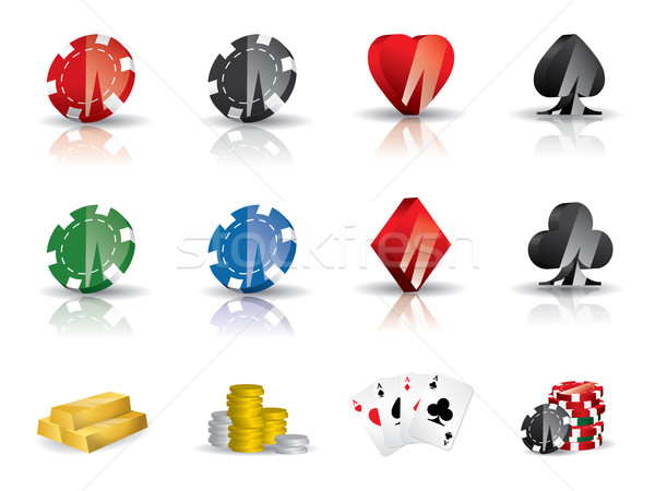 Gambling - poker icon set Stock photo © graphit