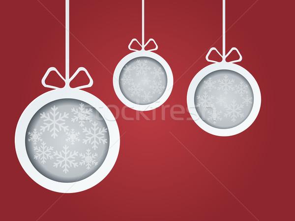 Foto stock: Natal · cartão · postal · inverno · bola · padrão