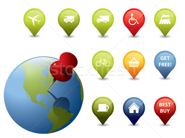 GPS icons and signs Stock photo © graphit