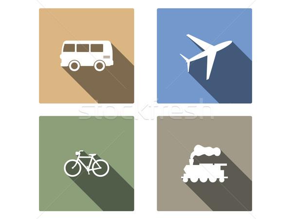 Veicolo trasporto vettore icone lungo ombra Foto d'archivio © graphit