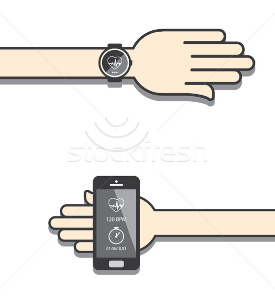 Smartwatch and smartphone communication. Smartwatch sending fitn Stock photo © graphit