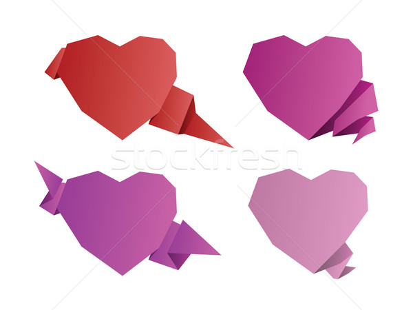 Valentines day origami hearts Stock photo © graphit