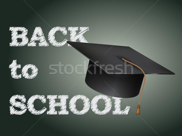 Volver a la escuela anunciante texto pizarra CAP ninos Foto stock © graphit
