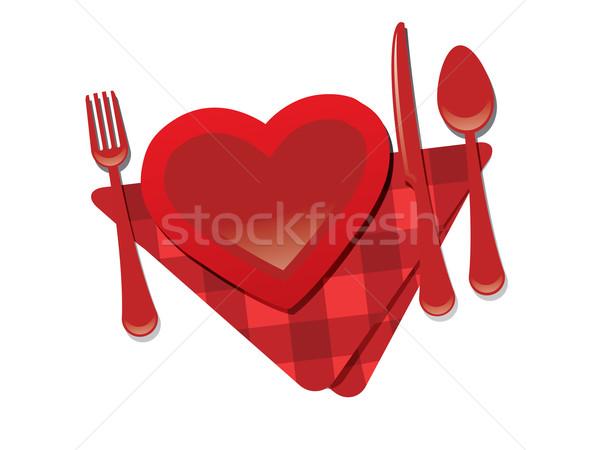 Forcella cuore coltello san valentino ristorante party Foto d'archivio © graphit
